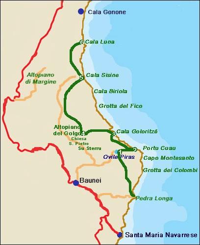 Cartina Michelin Sardegna.Baunei Sardegna Cartina